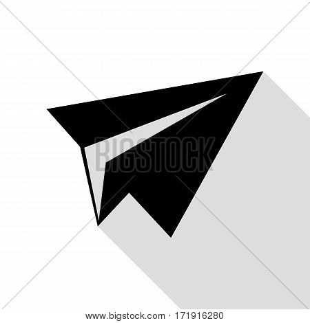 Paper airplane sign. Black icon with flat style shadow path.