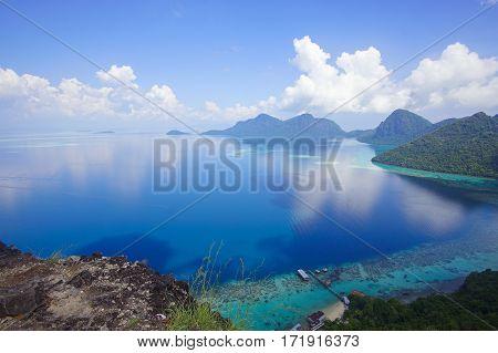 Aerial View Of Tropical Island Of Bohey Dulang Near Sipadan Island, Sabah Borneo, Malaysia.