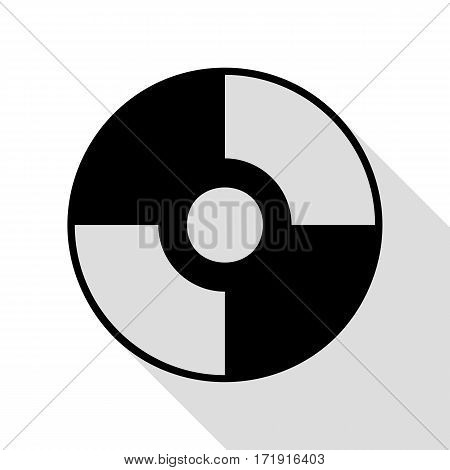 Vector CD or DVD sign. Black icon with flat style shadow path.
