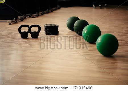 Weights And Medicine Ball Fitness Background
