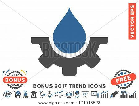 Cobalt And Gray Water Service pictogram with bonus 2017 trend design elements. Vector illustration style is flat iconic bicolor symbols white background.