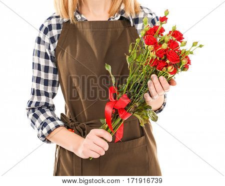 Beautiful woman florist holding bunch of roses isolated on white background