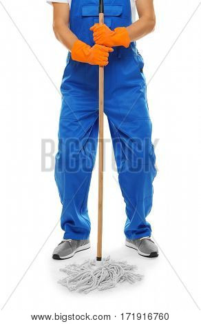Man with mop on white background