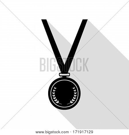 Medal simple sign. Black icon with flat style shadow path.