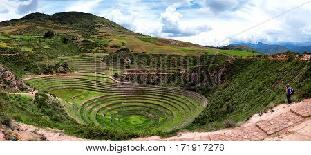 Incans farming laboratory in Moras Moray Cusco Peru emulating Andes various conditions