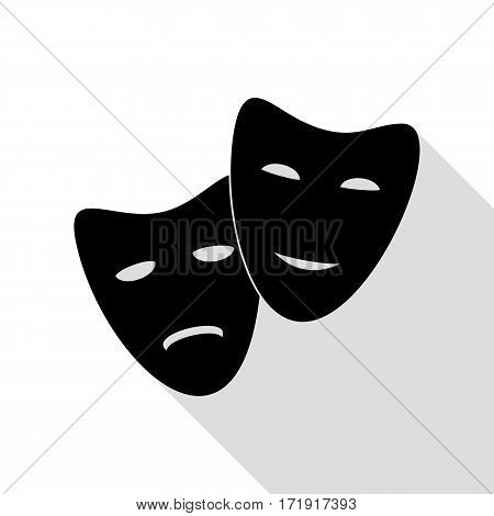 Theater icon with happy and sad masks. Black icon with flat style shadow path.