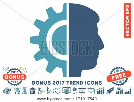 Cyan And Blue Android Robotics icon with bonus 2017 year trend elements. Vector illustration style is flat iconic bicolor symbols white background.