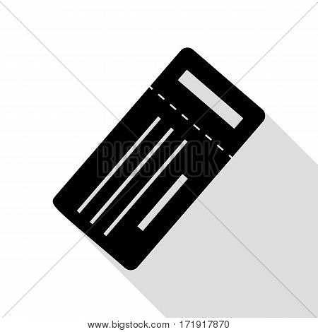 Ticket simple sign. Black icon with flat style shadow path.