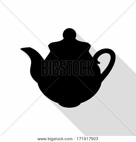 Tea maker Kitchen sign. Black icon with flat style shadow path.