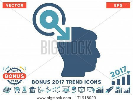 Cyan And Blue Brain Interface Plug-In pictograph with bonus 2017 trend pictograms. Vector illustration style is flat iconic bicolor symbols white background.