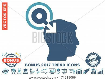 Cyan And Blue Brain Interface Plug-In pictogram with bonus 2017 year trend clip art. Vector illustration style is flat iconic bicolor symbols white background.