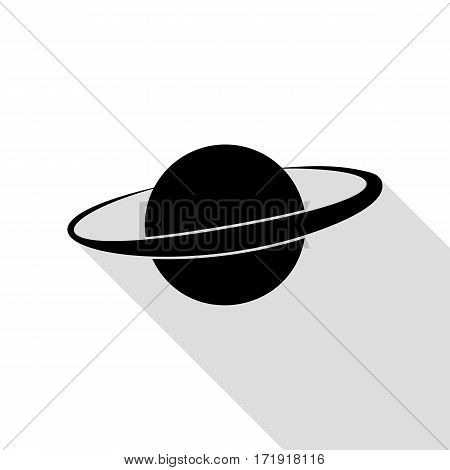 Planet in space sign. Black icon with flat style shadow path.