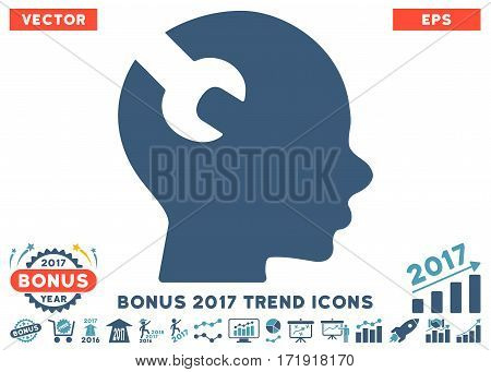Cyan And Blue Brain Wrench Tool pictogram with bonus 2017 trend pictograms. Vector illustration style is flat iconic bicolor symbols white background.