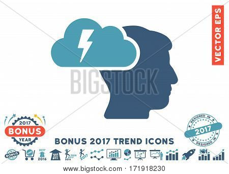 Cyan And Blue Brainstorming pictograph with bonus 2017 trend pictograph collection. Vector illustration style is flat iconic bicolor symbols white background.