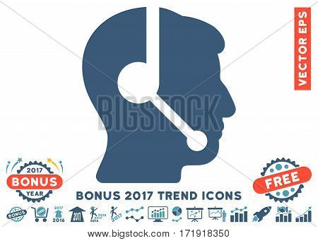 Cyan And Blue Call Center Operator pictogram with bonus 2017 year trend pictograph collection. Vector illustration style is flat iconic bicolor symbols white background.