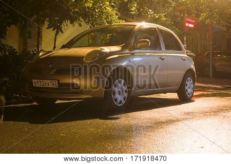 Sochi, Russia - October 09, 2016: Nissan Micra (March) parked on the street at night.