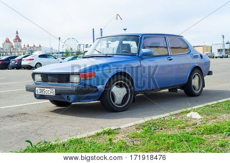Sochi, Russia - October, 11 2016: Legendary Saab 900 parked. Compact luxury automobile which was produced by Saab from 1978 until 1998 in two generations.