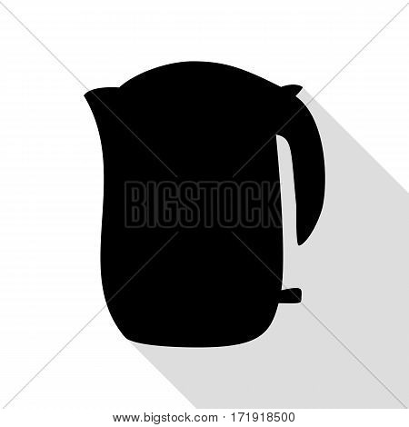 Electric kettle sign. Black icon with flat style shadow path.