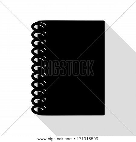 Notebook simple sign. Black icon with flat style shadow path.
