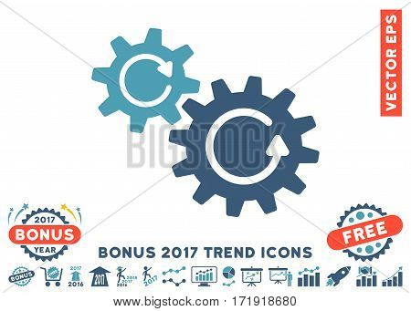 Cyan And Blue Cogs Rotation icon with bonus 2017 year trend icon set. Vector illustration style is flat iconic bicolor symbols white background.
