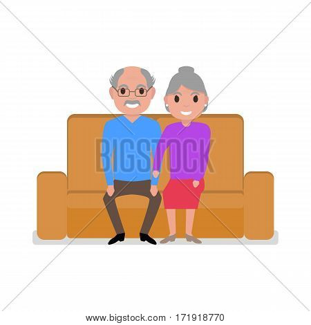 Vector illustration cartoon grandparents sitting on the couch. Isolated white background. A couple of grandfather and grandmother on the sofa. Flat style. Older people on the divan.