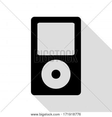 Portable music device. Black icon with flat style shadow path.