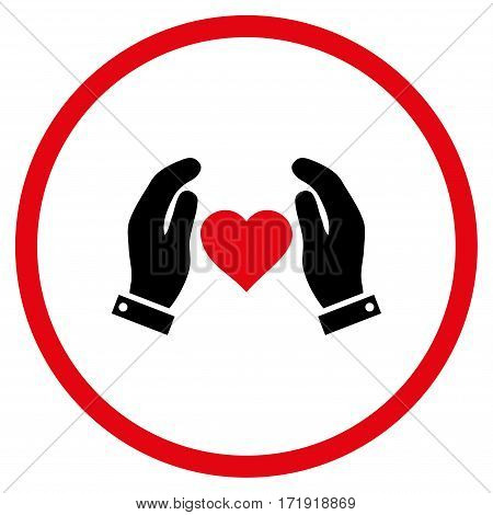 Love Care Hands rounded icon. Vector illustration style is flat iconic bicolor symbol inside circle, intensive red and black colors, white background.