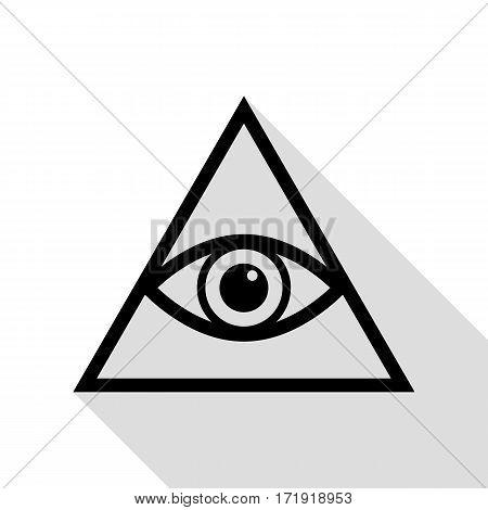 All seeing eye pyramid symbol. Freemason and spiritual. Black icon with flat style shadow path.