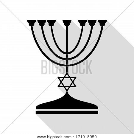 Jewish Menorah candlestick in black silhouette. Black icon with flat style shadow path.