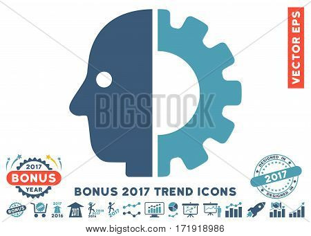 Cyan And Blue Cyborg Head icon with bonus 2017 year trend pictures. Vector illustration style is flat iconic bicolor symbols white background.