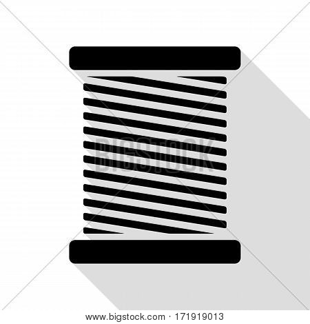 Thread sign illustration. Black icon with flat style shadow path.
