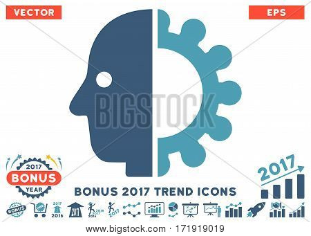 Cyan And Blue Cyborg Head pictograph with bonus 2017 year trend symbols. Vector illustration style is flat iconic bicolor symbols white background.