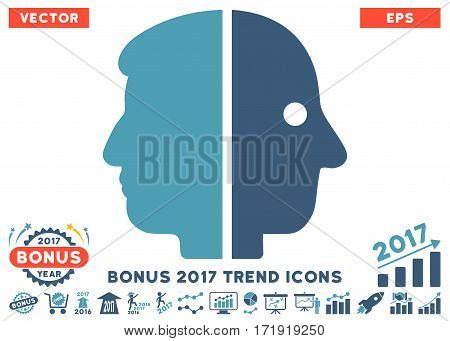 Cyan And Blue Dual Face icon with bonus 2017 year trend pictures. Vector illustration style is flat iconic bicolor symbols white background.