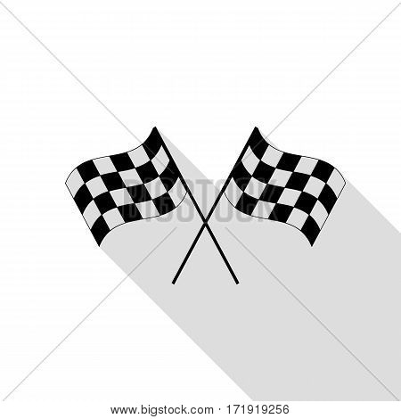 Crossed checkered flags logo waving in the wind conceptual of motor sport. Black icon with flat style shadow path.