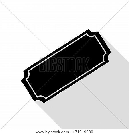 Ticket sign illustration. Black icon with flat style shadow path.