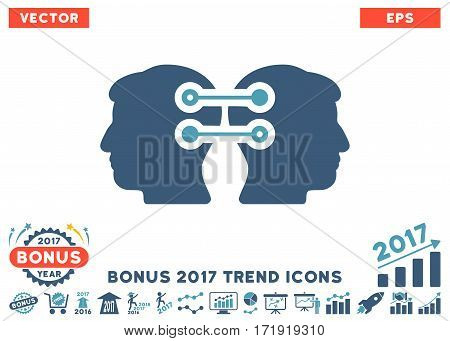 Cyan And Blue Dual Heads Interface Connection pictogram with bonus 2017 year trend elements. Vector illustration style is flat iconic bicolor symbols white background.