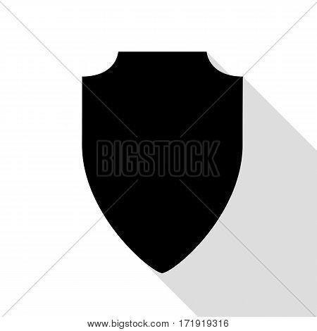 Shield sign illustration. Black icon with flat style shadow path.