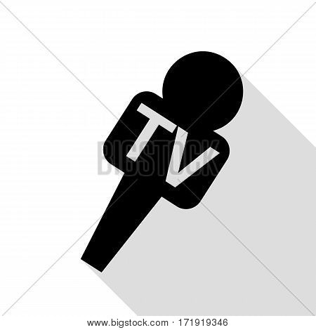 TV microphone sign illustration. Black icon with flat style shadow path.