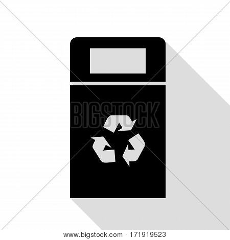 Trashcan sign illustration. Black icon with flat style shadow path.