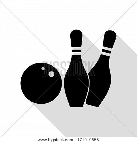 Bowling sign illustration. Black icon with flat style shadow path.