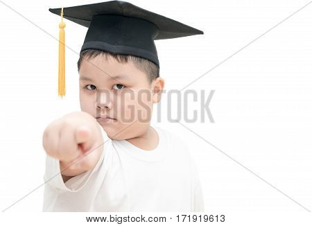Asian School Kid Graduate With Graduation Cap Pointed The Finger Command Isolated