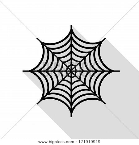 Spider on web illustration. Black icon with flat style shadow path.