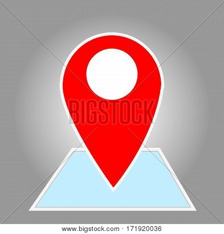 Signs, Check in red icon on the blue map pointer. Vector illustration