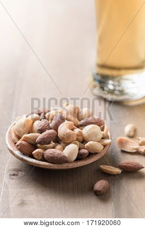 Salted Mix Cocktail Nuts With Beer And Barley Flower