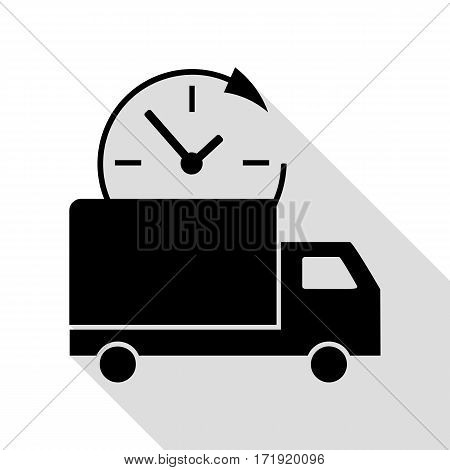 Delivery sign illustration. Black icon with flat style shadow path.