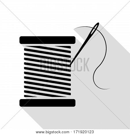 Thread with needle sign illustration. Black icon with flat style shadow path.
