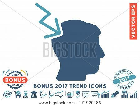 Cyan And Blue Head Electric Strike pictograph with bonus 2017 year trend pictograph collection. Vector illustration style is flat iconic bicolor symbols white background.