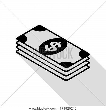 Bank Note dollar sign. Black icon with flat style shadow path.