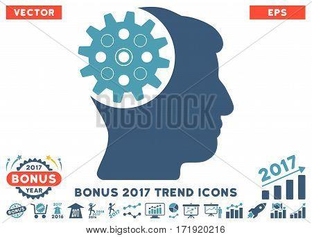 Cyan And Blue Head Gear pictograph with bonus 2017 year trend symbols. Vector illustration style is flat iconic bicolor symbols white background.