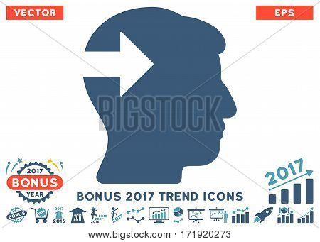 Cyan And Blue Head Plug-In Arrow pictogram with bonus 2017 year trend pictograph collection. Vector illustration style is flat iconic bicolor symbols white background.